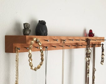 Cherry Wood Jewelry Storage Necklace Holder Display Shelf Modern Organizer Handmade