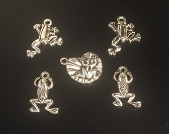 Silver frog charms, lot of five charms