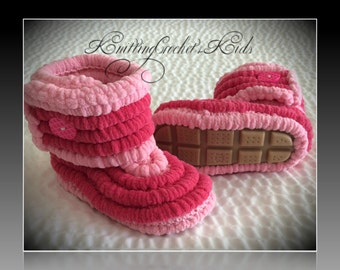 Very comfy infant/toddler crochet knitted soft plush high booties winter boots (ONE pair)