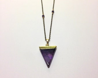 Triangle Stone Necklace with accent beads