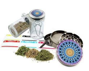 "Psychedelic - 2.5"" Zinc Alloy Grinder & 75ml Locking Top Glass Jar Combo Gift Set Item # G123114-0026"