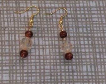 Brown and Clear Beige Earrings