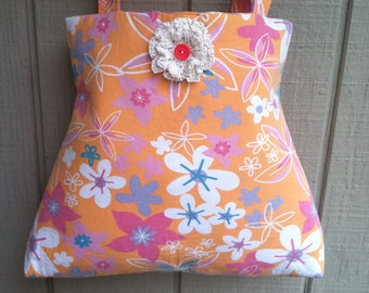 60s Handbag, Summer Bag, Small Beachbag, Flower Power Purse, Orange Handbag, Crochet and Button Accent - Medium