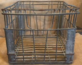 Vintage Steffens Wire Milk Crate 1958