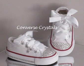 Girls Custom Glass Crystal Toes and Sides *Bling* Converse Infant sizes 2-10. Colour, Crystal & Ribbon Options Available