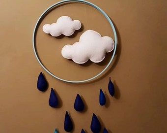 RAIN clouds with Crescent moon
