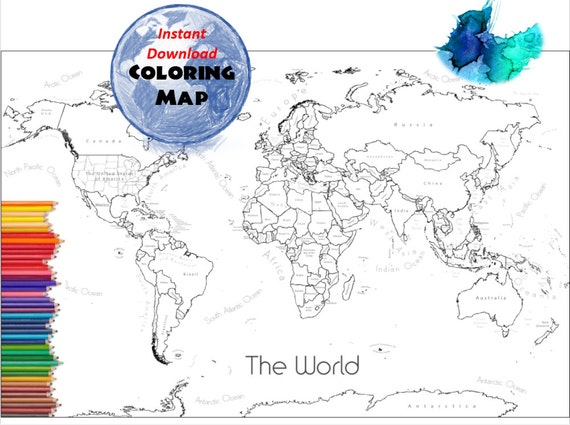 World map coloring page labeled world map a4 and 85x11 inch world map coloring page labeled world map a4 and 85x11 inch coloring book countries outline map with labels from colormyworldmaps on etsy studio gumiabroncs Choice Image