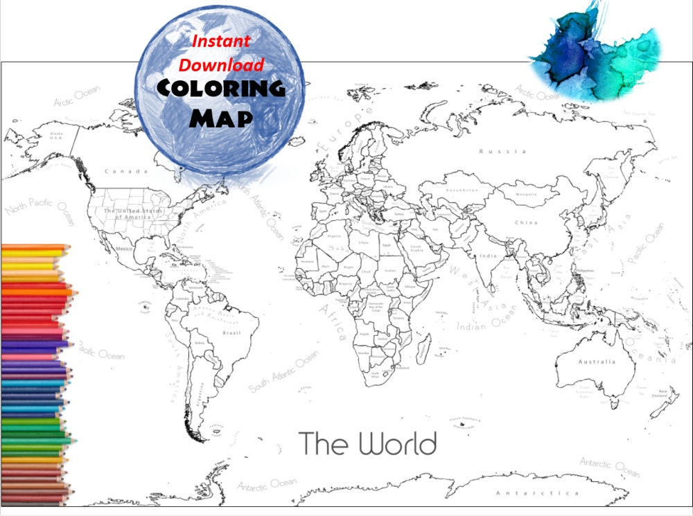 World Map Coloring Page Labeled World Map A And X Inch - The world map with labels
