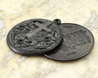 Lord's Prayer Locket Religious Medal Black Cross Pendant Lords Prayer Pendant Christian Necklace Black Locket Gift for Him Communion Baptism