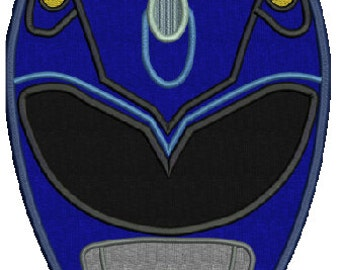 Blue Ranger Applique with fill areas, 1 design, 4 sizes, 8 formats(dst,hus,jef,exp,vip,sew,pes,xxx), instant download, 1 zip file