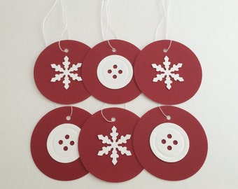 Button and Snowflake Tags (Set of 6)