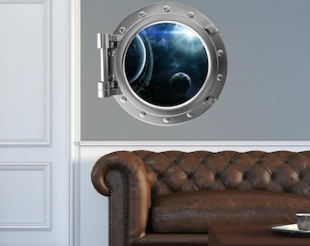 Space Porthole Decal Etsy - Portal 2 wall decals
