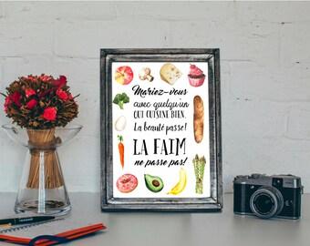 Affiche A4 Déco Cuisine Mariez-vous avec quelqu'un qui cuisine bien
