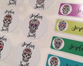 Personalised Candy skull name labels