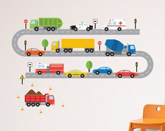 Transportation Wall Decal, Cars Wall Decal, Vehicles Wall Decal, Road Vehicles Decal, Truck Wall Decal, Cars and Trucks Decal, Truck Decal