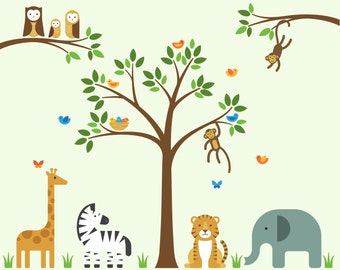 Animal Nursery Decals, Animal Nursery, Animal Wall Decals - X-Large