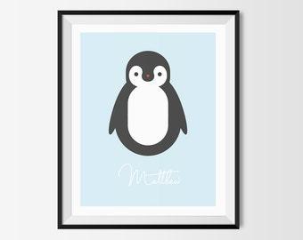 Baby Penguin Print, Custom Name Baby Print, Personalized Penguin Print, Modern Penguin Print, Baby Print, Nursery Art, Baby Gift