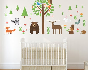 Modern Forest Animals Wall Decal, Woodland Animals Wall Decal, Deer Wall Decal, Tree Wall Decal, Bear Wall Decal, Fox Wall Decal