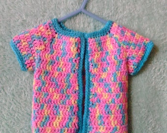 Baby sweater, handmade, multicolor, 0-3 months