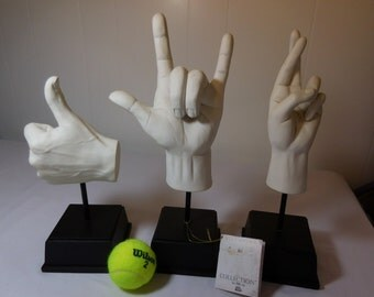 Set of 3 Sign Statues-Thumbs Up, I Love You and Fingers Crossed