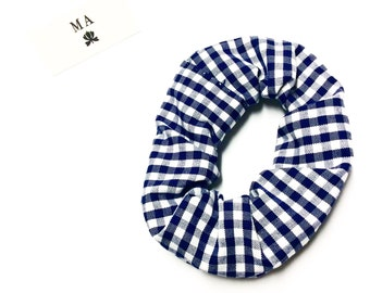 Navy checked scrunchie