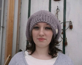 Discounted and discontinued. Sale price. Knit beret. Lavender beret. Button hat. Button beret. Hand knit hat. Ready to ship