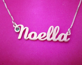 Silver Name Necklace,Order any name!, Personalized necklace with a birthstone