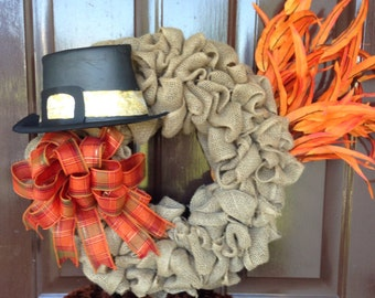 Turkey wreath ,fall wreath ,burlap wreath