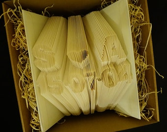 Folded Book Art - Initials and date- finished book - Anniversary Gift - First Anniversary - Wedding - Personalized Gift - Book Sculpture