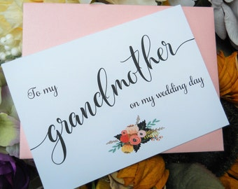 To My GRANDMOTHER CARD, Wedding Party Cards, Mother of the Bride Card, Mother of the Bride Gift, Grandmother Card, Grandmother Gift