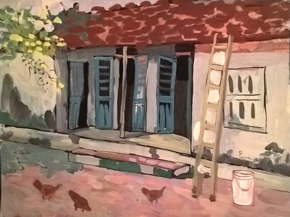 "OPEN DOORS 20x16"" gouache on paper, live painting, Vietnam village scene (Cự Đà), original by Nguyen Ly Phuong Ngoc"