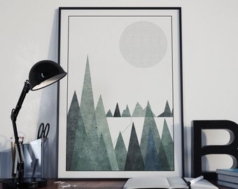 Scandinavian Mountain Range Poster Print- Minimalist, black and white, nordic