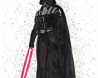 Darth Vader Watercolor 8x10 Print/ Star Wars prints/ darth vader art