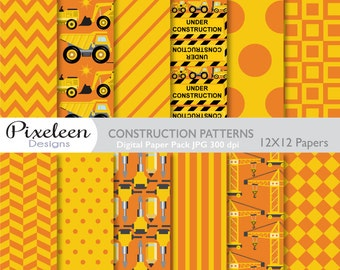 Construction Digital Paper, Construction Patterns, chevron ,polka dots, stripes, scrapbooking, invitations, paper crafts, INSTANT DOWNLOAD