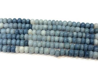 """8mm approx Peruvian Blue Opal Rondelle , Blue Opal Shaded Beads, Length 17"""""""