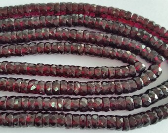 Garnet Faceted Washer Shape,  6mm size , Lenght of 14 Inch