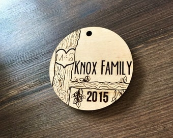 Personalized Family Ornament, Engraved Christmas Ornament, Wood Christmas Ornament, Bridal Gift, Christmas Present, Christmas Gift, Happyism
