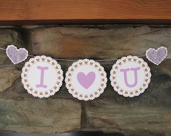 I heart U engagement wedding valentines photo prop banner