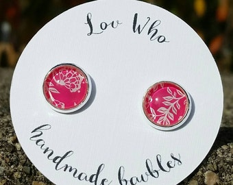 Pink and White Floral Stud Earrings