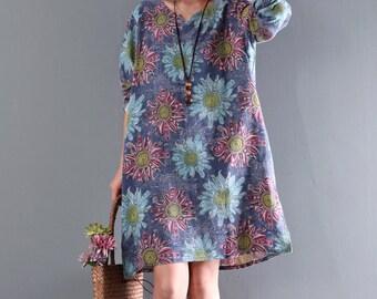 Women flower dress cotton dress vintage pattern shirt dress v-neck dress