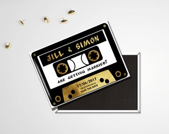 Save the Date Wedding Magnets - Retro Cassette Tape