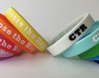 "Ten ""Choose the Right"" CTR 2017 Primary Wristbands - (10) LDS"