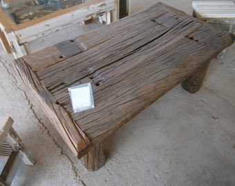 Coffee Table made from railroad tie C004