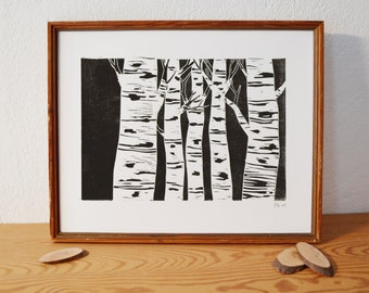 forest 2 · original linocut · Limited Edition · DIN A4