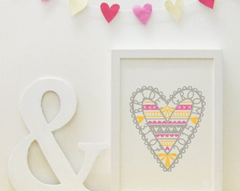 Pink, grey and yellow wedding love heart print (personalisable/customisable)