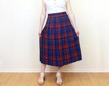 80s Rainbow Plaid Midi Skirt - Wool Skirt - Pleated Skirt - Plaid Skirt - Blue Red Green Yellow Purple - 80s Pleated Skirt - 32W Large
