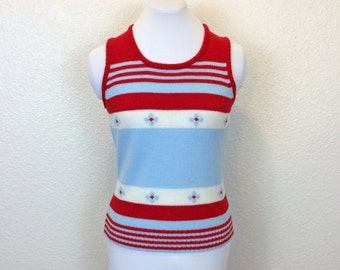 70s Acrylic Sweater Vest - Red, White and Blue - Sleeveless Sweater - Striped Sweater - XS / Small