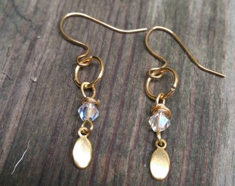 Gold drop crystal earrings