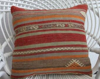 "geometric pillow  16"" x 16"" turkey kilim pillow 40cm x 40cm tribal pillow embroidery pillow orange pillow decorative pillow cover  256"