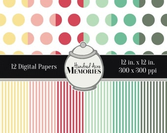 Digital Papers, Deep Pastels, 12 inches x 12 inches, 300 ppi (dpi), Scrapbooking and Craft Papers, Downloadable and Printable